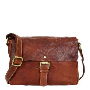 Womens Leather Classic Cross Body Shoulder Bag Hazel Cognac 2