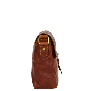 Womens Leather Classic Cross Body Shoulder Bag Hazel Cognac 3