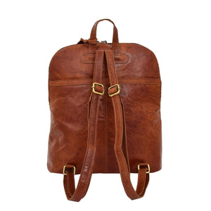 Womens Leather Casual Mid Size Backpack Doris Tan 3