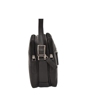 leather bag with multi zip compartment