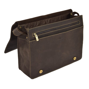 mens leather messenger bag with an inside organiser section