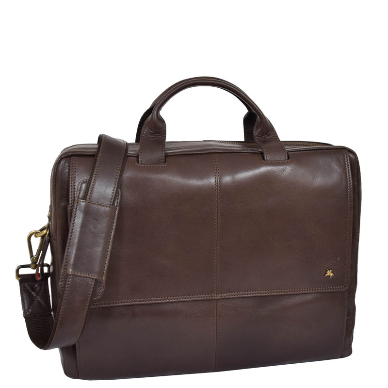 leather bag with bottom metal stabilisers