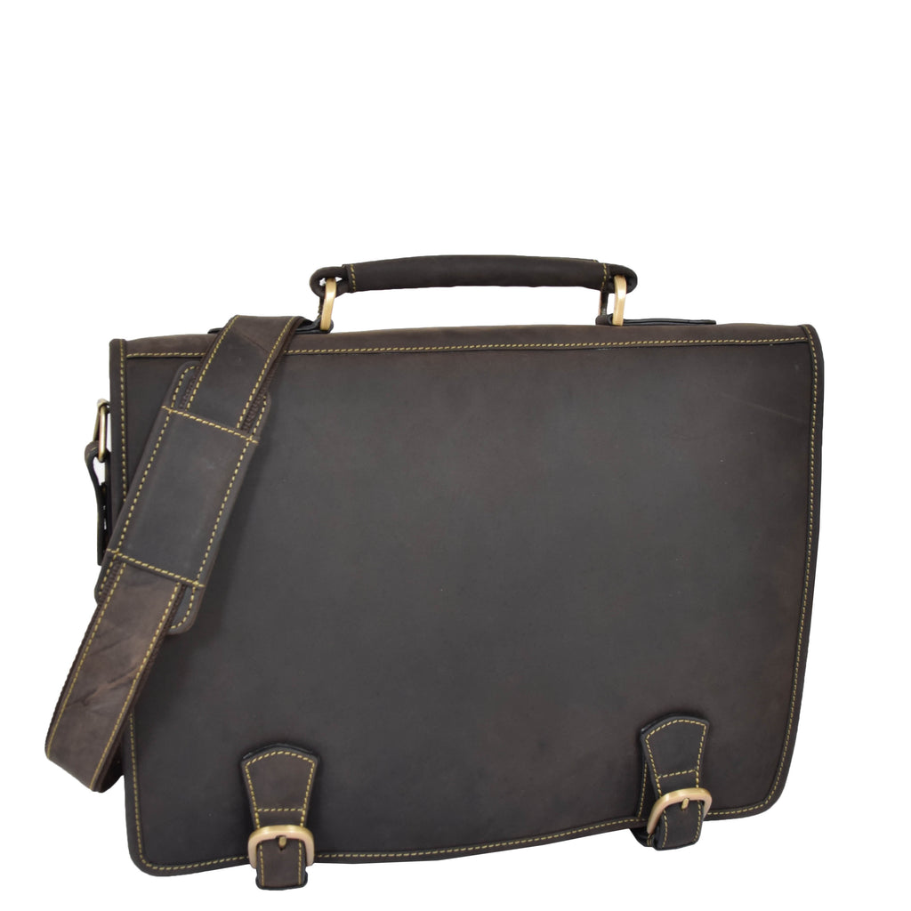 mens leather messenger bag in brown