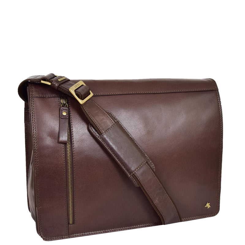 Mens Leather Cross Body Satchel Bag Hector Brown top