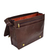 Mens Leather Cross Body Satchel Bag Hector Brown inside