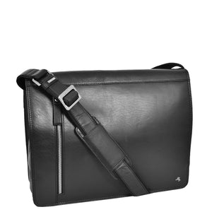 Mens Leather Cross Body Satchel Bag Hector Black