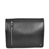 Mens Leather Cross Body Satchel Bag Hector Black front