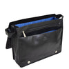 Mens Leather Cross Body Satchel Bag Hector Black inside