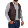button fastening leather gilet