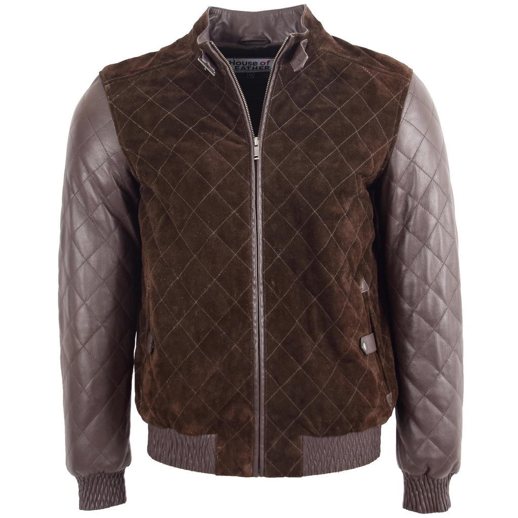 Mens Leather and Suede Bomber Varsity Jacket Bradley Brown