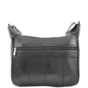 Womens Leather Cross Body Messenger Bag HOL004 Black 1