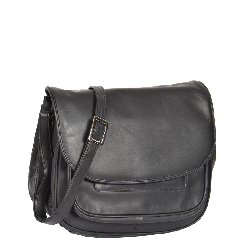 Womens Classic Cross Body Leather Bag Vancouver Black