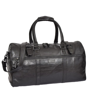 black leather holdall