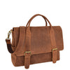 Mens Leather Cross Body Flap Over Briefcase Caleb Tan