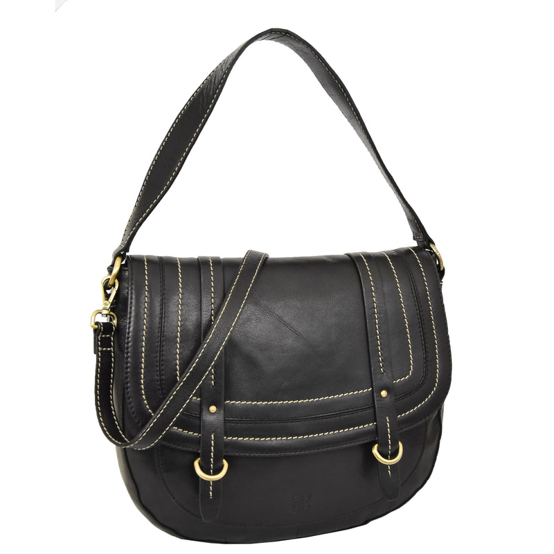 Womens Leather Cross Body Handbag Mila Black