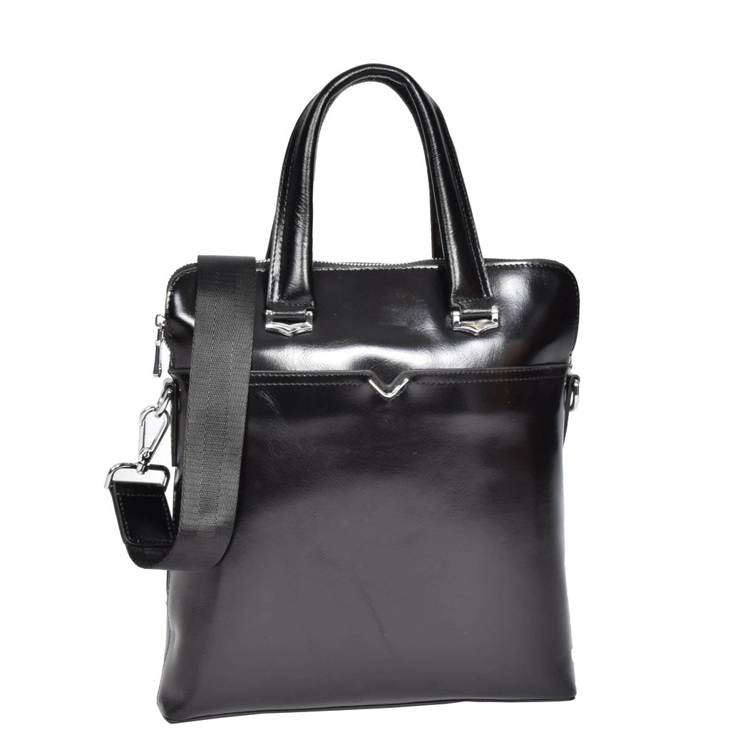 leather organiser bag black
