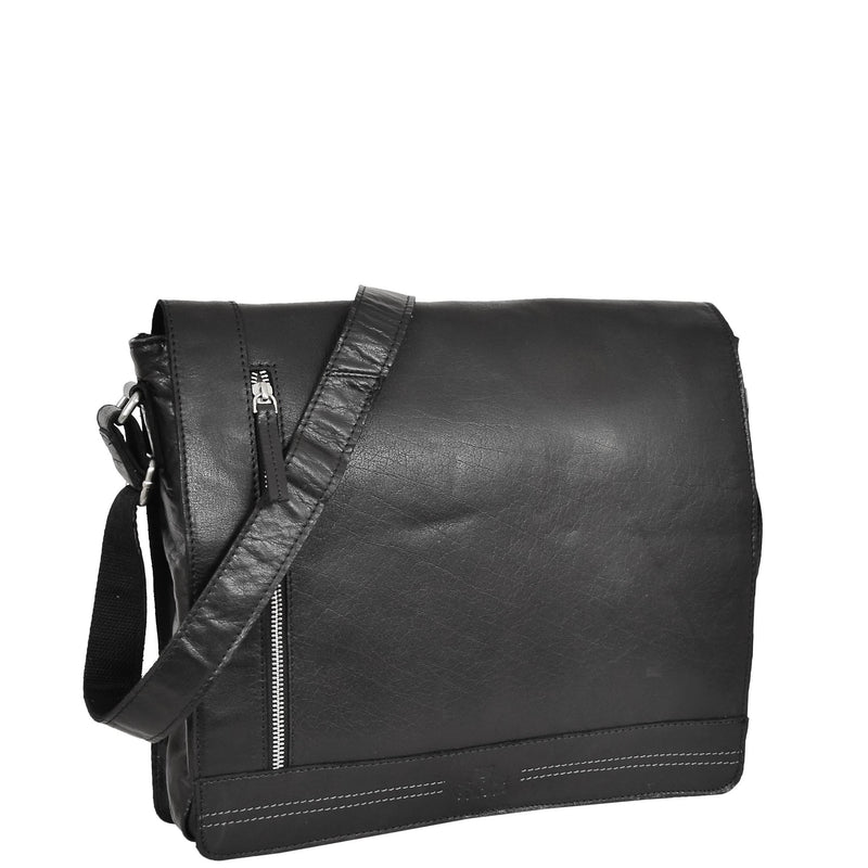 Mens Leather Flap Over Cross Body Bag Bristol Black