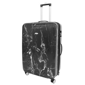 Four Wheels Spinner Suitcase Marble Print Black 1