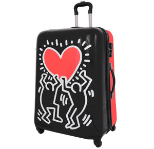 Four Wheels Big Heart Shape Printed Suitcase H820 Black 1