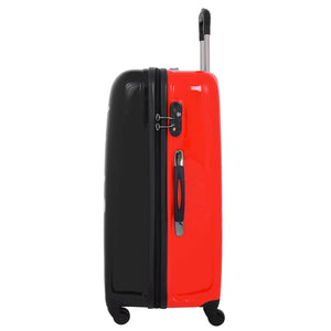Four Wheels Big Heart Shape Printed Suitcase H820 Black 2