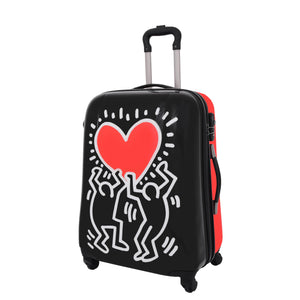 Four Wheels Big Heart Shape Printed Suitcase H820 Black 5
