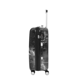 Four Wheels Spinner Suitcase Marble Print Black 6