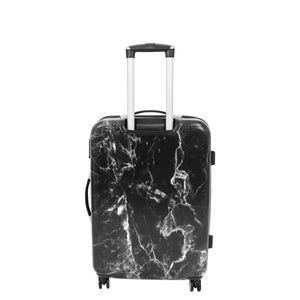 Four Wheels Spinner Suitcase Marble Print Black 7