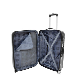 Four Wheels Spinner Suitcase Marble Print Black 8