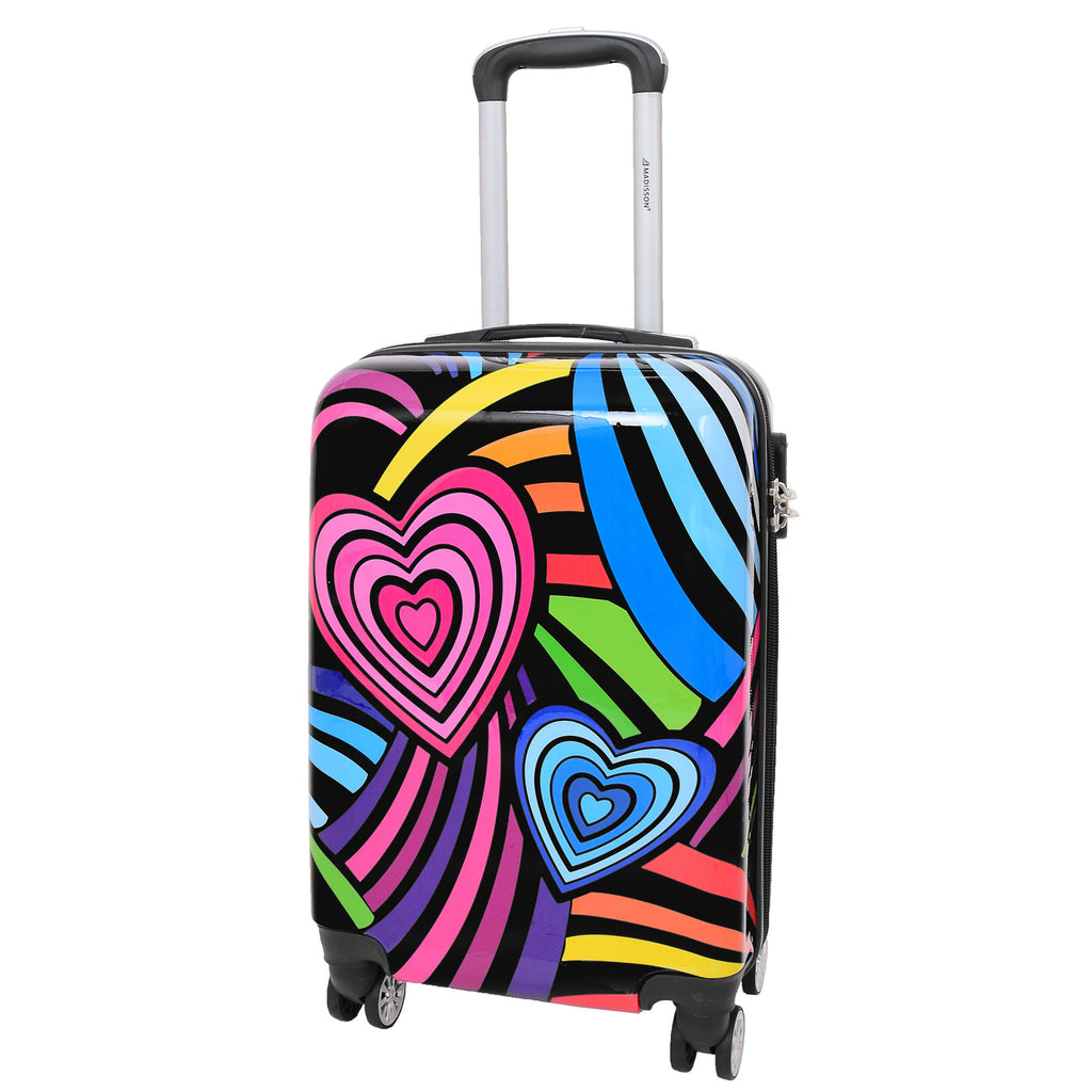 4 Wheels Multi Hearts Print Cabin Small Size Suitcase