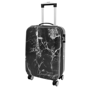 4 Wheels Marble Print Cabin Size Suitcase Black