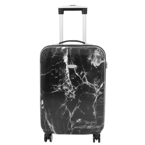 4 Wheels Marble Print Cabin Size Suitcase Black 1