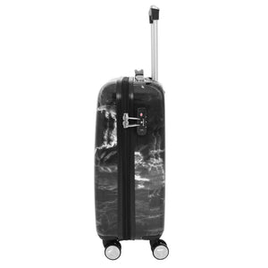 4 Wheels Marble Print Cabin Size Suitcase Black 2