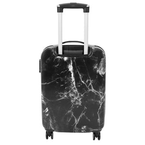 4 Wheels Marble Print Cabin Size Suitcase Black 3