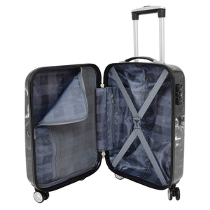 4 Wheels Marble Print Cabin Size Suitcase Black 4