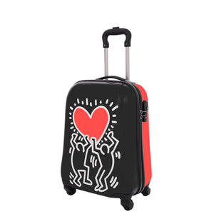 Four Wheels Big Heart Shape Printed Suitcase H820 Black 10