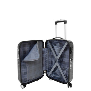 Four Wheels Spinner Suitcase Marble Print Black 11