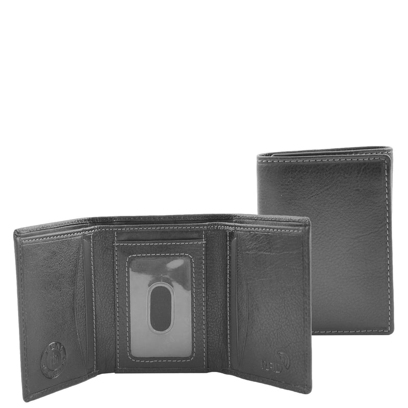 Mens Trifold Leather Credit Card Wallet Titus Black