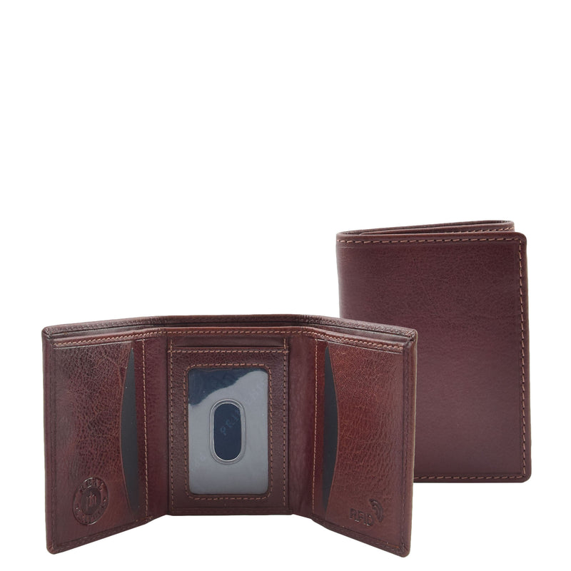 Mens Trifold Leather Credit Card Wallet Titus Brown 2