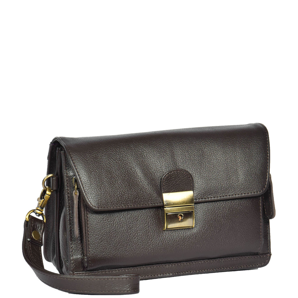 leather wrist bag brown