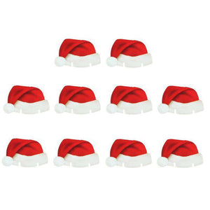 10Pcs Christmas Santa Hat Wine Glass Decoration