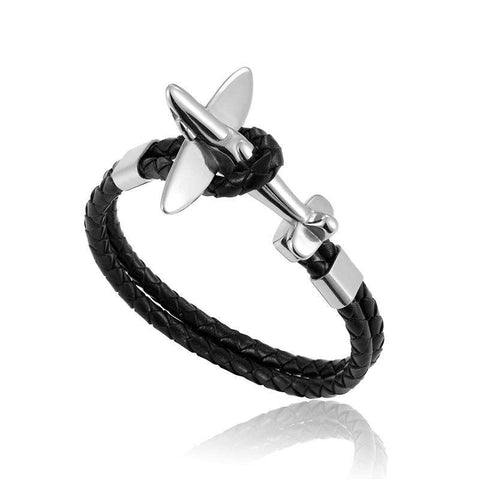 Image of WINGLET™ Leather Airplane Anchor Bracelet
