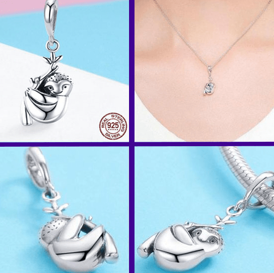 Cute Sterling Silver Sloth Charm - Prography Gear