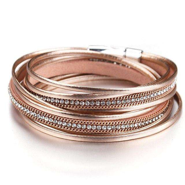 Bohemian Metallic Colored Multilayer Leather Wrap Bracelet - Prography Gear