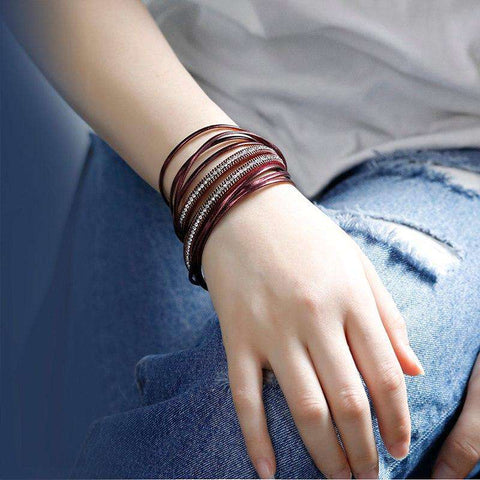 Image of Bohemian Metallic Colored Multilayer Leather Wrap Bracelet - Prography Gear