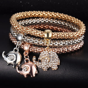 Luxury 3 Pcs/Set Elefant Charm Metal Bracelets