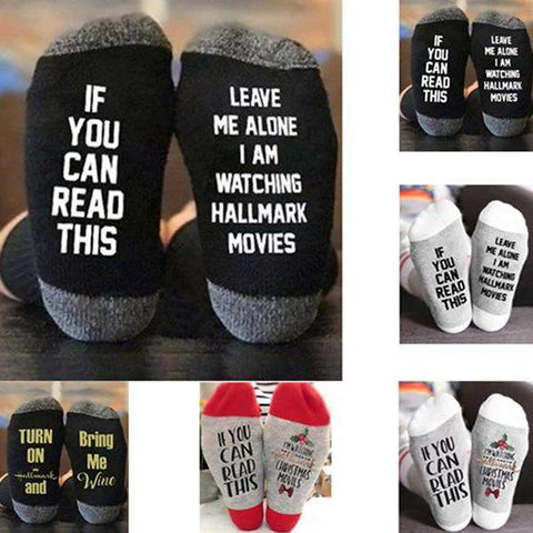"""If You Can Read This"" Hallmark Movie Socks"