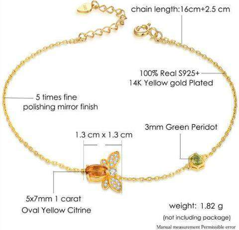 Gold Plated Sterling Silver Bee Bracelet - Prography Gear