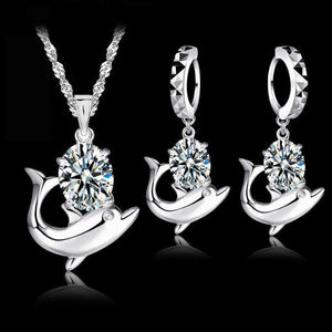 Cute Sterling Silver Dolphin Jewelry Set - Prography Gear