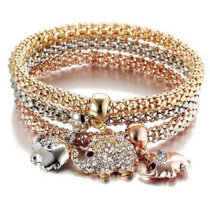 Luxury 3 Pcs/Set Elefant Charm Metal Bracelets - Royalty Trends
