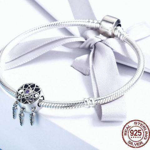 Cute 925 Sterling Silver Dreamcatcher Charm - Royalty Trends